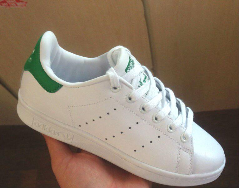 Adidas Stan Smith White Green   кроссовки-кеды женские и мужские  кожаные   белые с зеленым 0515820f0be