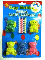 """Набор праздничных свечей для торта """"Мишки"""" , 5 свечек+ 5 мишек"""