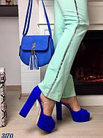 Женские босоножки на каблуку 13 см, материал натуральная замша, удобная колодка. Цвет электрик