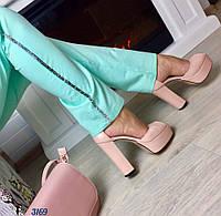 Женские босоножки на каблуку 13 см, материал натуральная кожа, удобная колодка. Цвет пудра