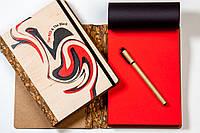 """Блокнот ДЕРЕВЯННЫЙ с черно-красными листами """"Red & Black"""" + ручка"""