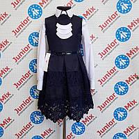 Польский школьный сарафан с гипюповыми вставками для девочки DEVA