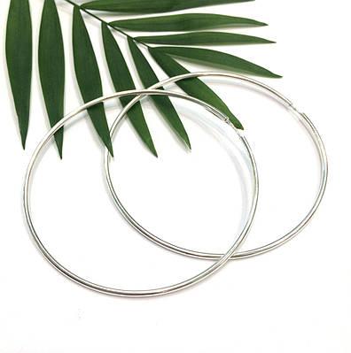 Большие родированные серьги кольца 75 мм серебро 925 пробы купить ... 7bcf91064b3