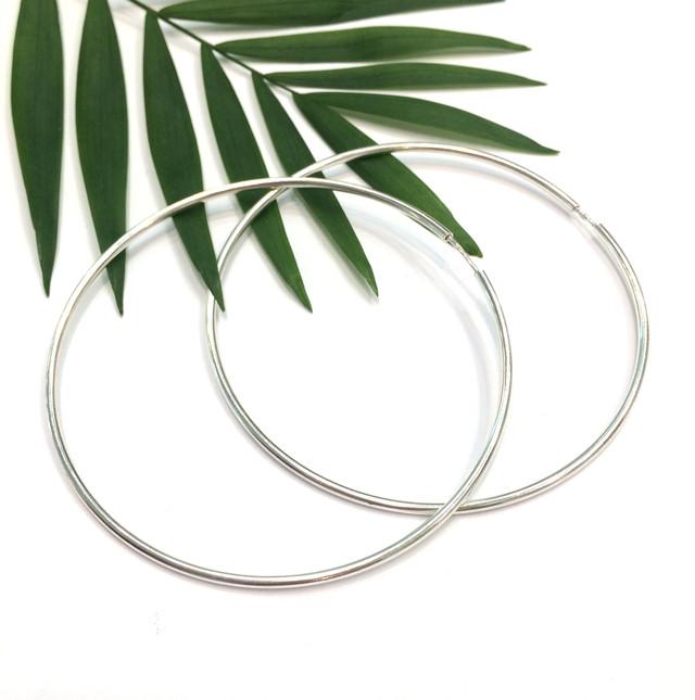 Крупные серьги кольца 70мм серебро фото 1