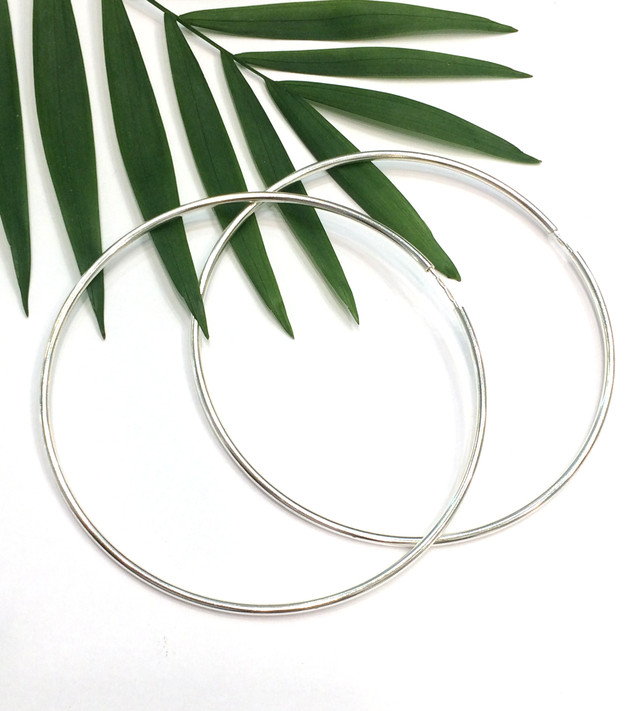 Большие серьги кольца 70мм серебро фото 2