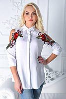 Рубашка с вырезами на плечах и нашивками 1025 (ФД)