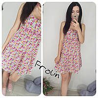 женское летнее свободное платье сарафан с завышенной талией в разных цветах