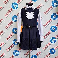 Школьный детский сарафан синего цвета  для девочки под пояс  MARTEX, фото 1