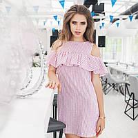Платье летнее с оборкой ткань лен в розовую полоску, фото 1