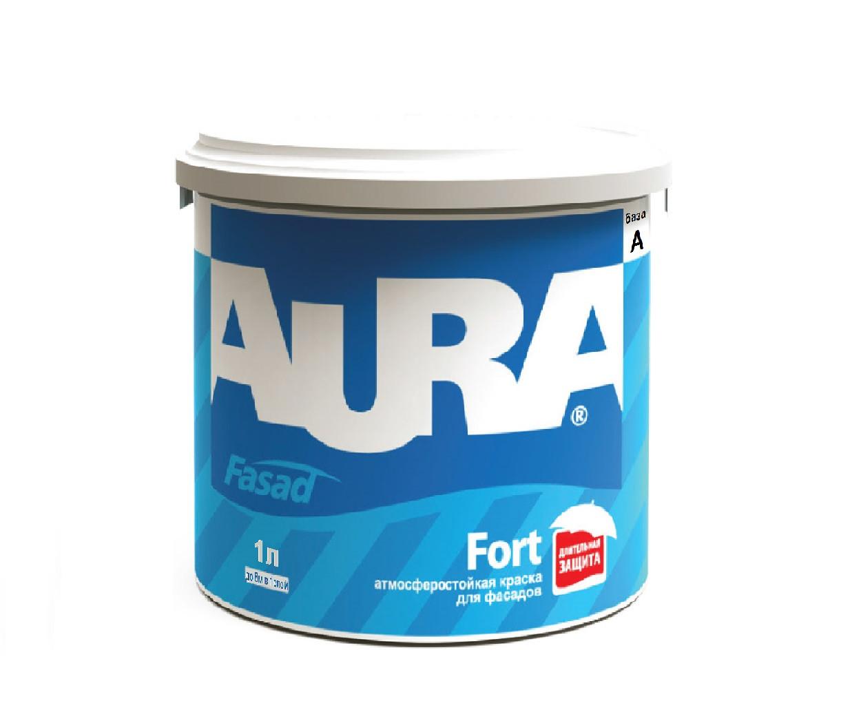 Краска силиконизированная AURA FASAD FORT фасадная база А-белая 1л