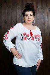 Женская блуза вышиванка «Розы крестиком» больших размеров