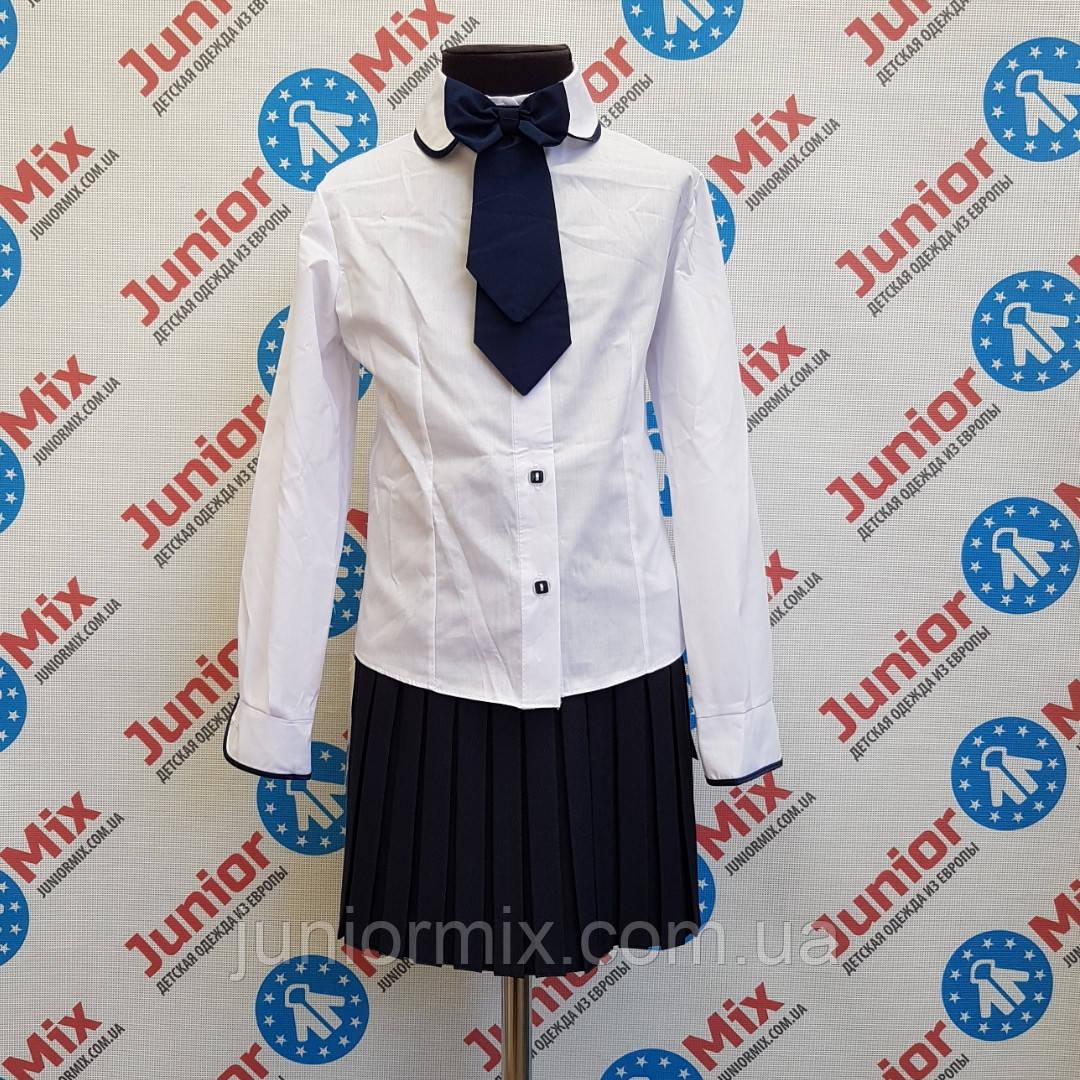 Детская школьная блузка для девочки со съёмным бантом KUBITEX.ПОЛЬША