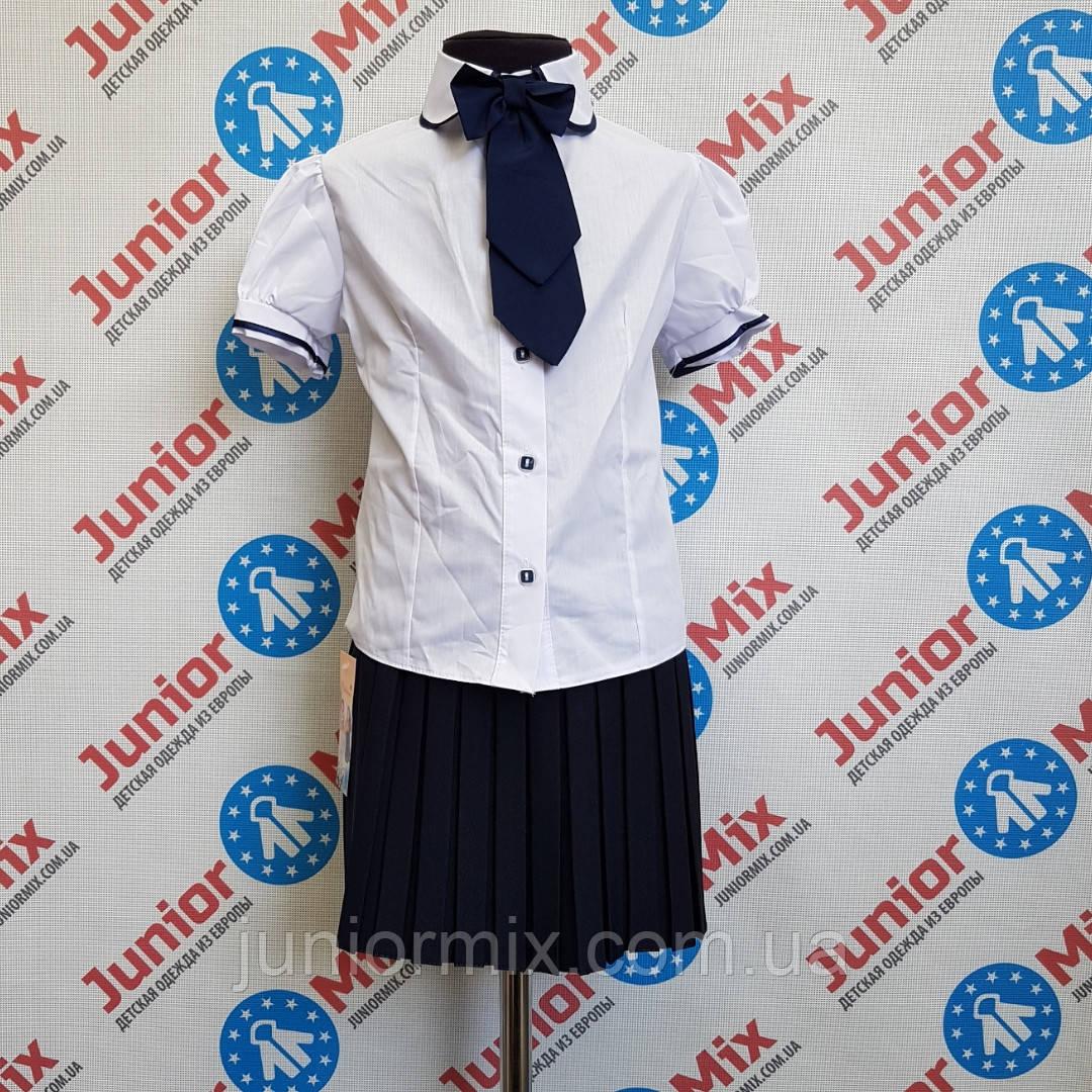 Школьная детская блузка со съёмным бантом на короткий рукав KUBITEX.  ПОЛЬША