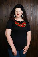 Вышитая женская футболка с маками