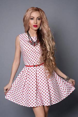 Расклешеное летнее платье мини с тонким ремешком, фото 2