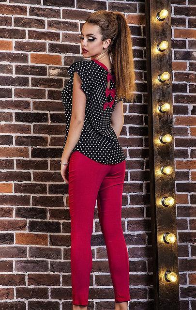 Женский костюм укорочненые брюки и блузка в горох 42-48