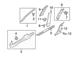 Заглушка (колпачок, крышка, фиксатор) внутренней отделки (пластиковой накладки) передней левой стойки серая GM 2225805 13155244 13113887 OPEL Astra-H