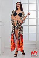 Женская пляжная туника в пол ткань-шифон купон леопард