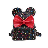 Черный рюкзак с ушками и красным бантом в стиле Louis Vuitton