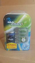 Набір GILLETTE Mach 3 Sensitive касета для гоління 4 шт плюс гель для гоління 75 мл