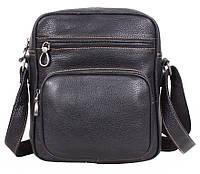 Повседневная мужская кожаная сумка через плечо черная