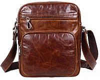 Повседневная мужская кожаная сумка через плечо рыжая