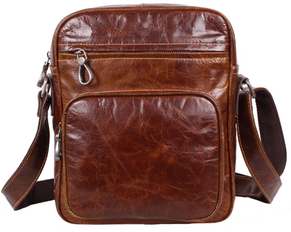 05915b63fcad Повседневная мужская кожаная сумка через плечо рыжая - АксМаркет в Киеве
