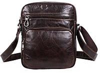 Мужская кожаная сумка через плечо кофейного цвета
