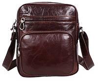 Мужская кожаная сумка через плечо темно-коричневая