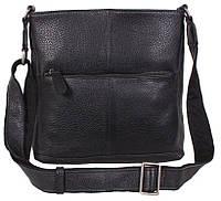 Повседневная мужская кожаная сумка через плечо черная TR-9017-1