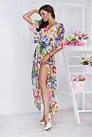 Женская пляжная туника в пол ткань-шифон купон цветы