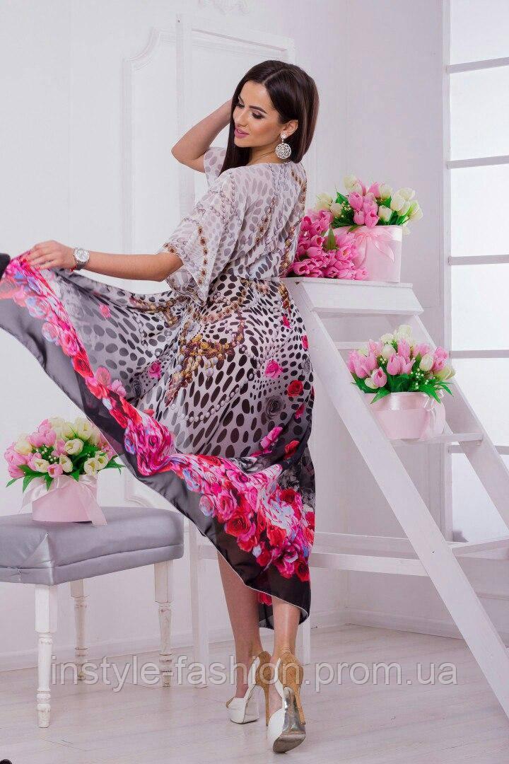 Женская пляжная туника в пол ткань-шифон купон леопард белый