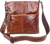 Мужская кожаная сумка через плечо рыжая TR-9017-2