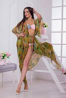 Женская пляжная туника в пол ткань-шифон купон зеленая