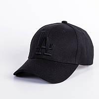 Кепка бейсболка в стиле LA (Лос-Анджелес) Полностью Черная, Унисекс