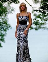 Вечернее черно-белое платье с болеро. Контур из камней и бисера на груди.