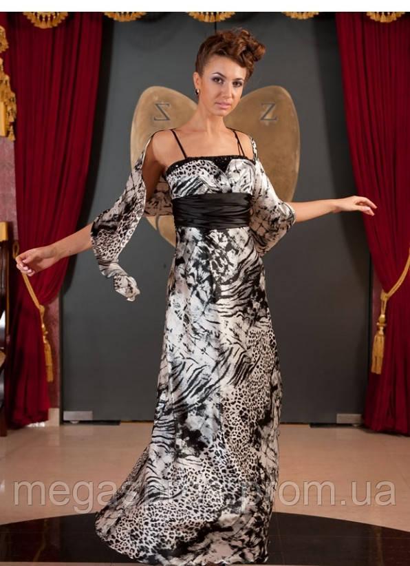 Вечернее платье с болеро черно-белое. Грудь окаймлена бисером и стразами.