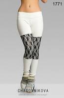 Женские лосины со вставками гипюра Линда бело серый