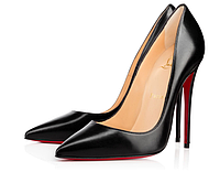 Louboutin So Kate 10 cm  Black  Leather Кожа 3160528BK01 Черные лодочки Лабутены Туфли