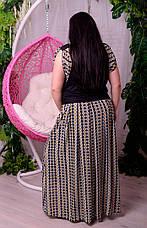 Юбка в пол больших размеров Алла ромашки на черном, фото 2
