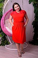 Платье из вискозы для полных женщин Кокетка красное