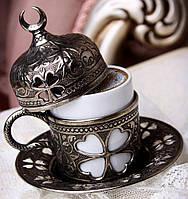Чашка для кофе Бронзовый цветок темно-серая