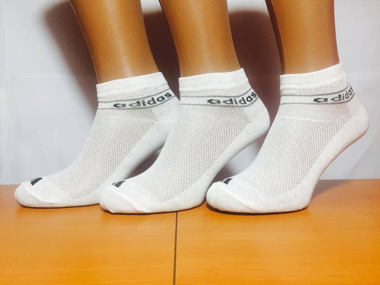Носки спортивные «Adidas» 35-41р. белые, фото 1