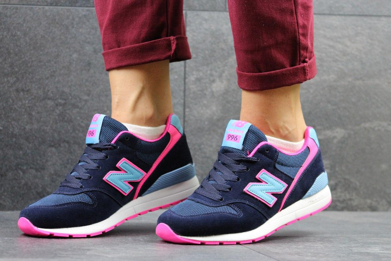 Женские кроссовки New Balance 996 синие с розовым 36р