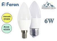 Светодиодная лампа Feron LB-737 свеча 6W 230V