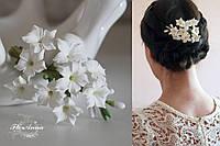 """Свадебная заколка для невесты или на выпускной  """"Белые стефанотисы"""""""