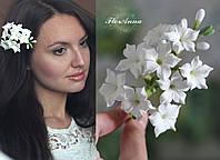 """Свадебная заколка для невесты или на выпускной  """"Белые стефанотисы"""", фото 1"""