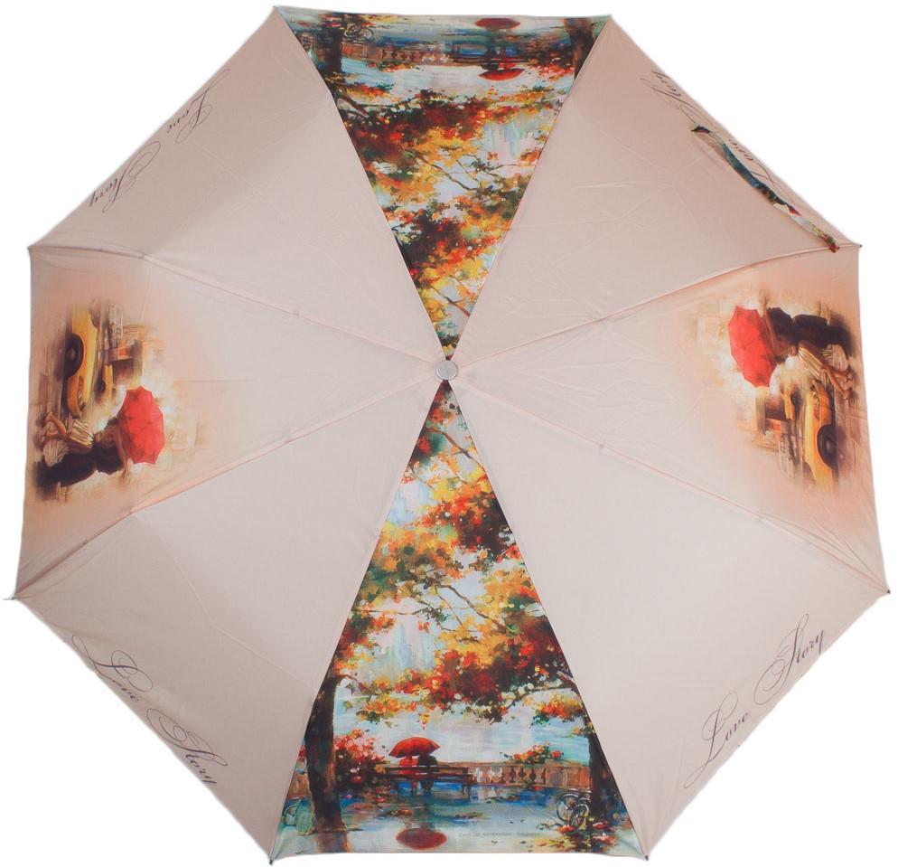 Женский зонт полуавтомат ZEST (ЗЕСТ) Z23625-3003 бежевый