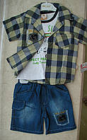 Костюм тройка футболка+шорты +рубашка коттон 1-3 года клетка зеленая