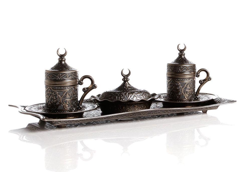 Набор чашек для кофе Темно-серый ажур на 2 персоны